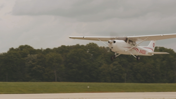 A plane from The Ohio State University's fleet takes off