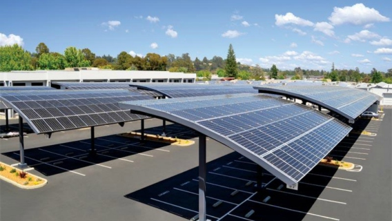 Artists rendering of a solar carport at Michigan State University