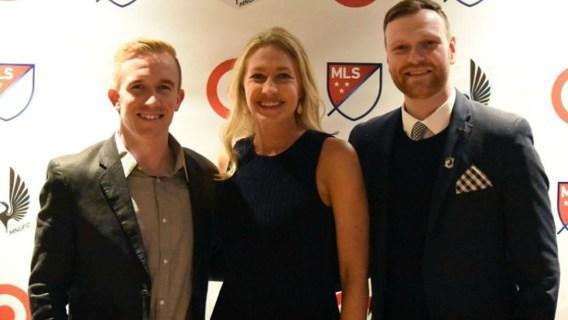 Major League Soccer analyst Kyndra de St. Aubin with colleagues.