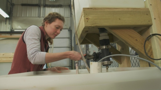 University of Iowa Ph.D. student Rebecca Matteson working in Craig Just's lab.