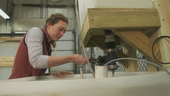 University of Iowa Ph.D. student Rebecca Matteson working in Craig Just's lab.