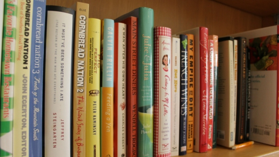 A collection of books in the Indiana University Food Institute's new library