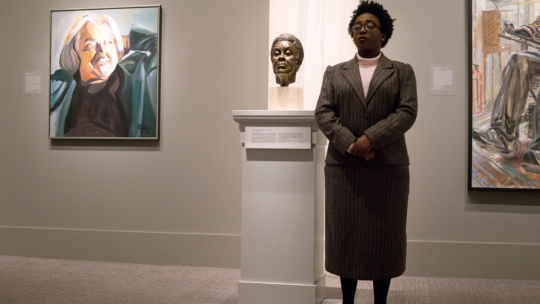 A University of Maryland theatre student portrays noted poet Gwendolyn Brooks at the National Portrait Gallery