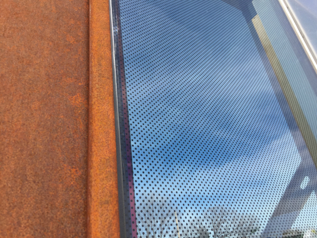 A close up of the fritted glass on the University of Minnesota Bell Museum.