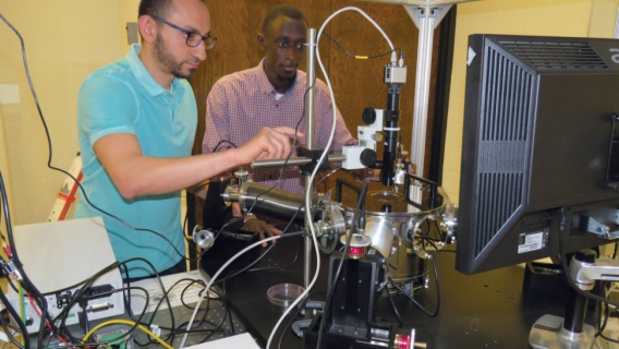 Sidy Ndao (right), assistant professor of mechanical and materials engineering, and Mahmoud Elzouka, a graduate student, have created a thermal diode that will allow computers to use heat as an energy source to allow their operation in ultra-high temperatures.