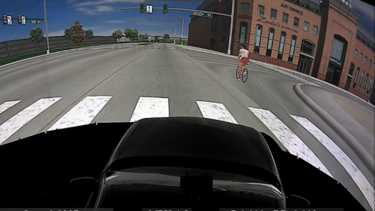 Inside University of Iowa's driving simulator