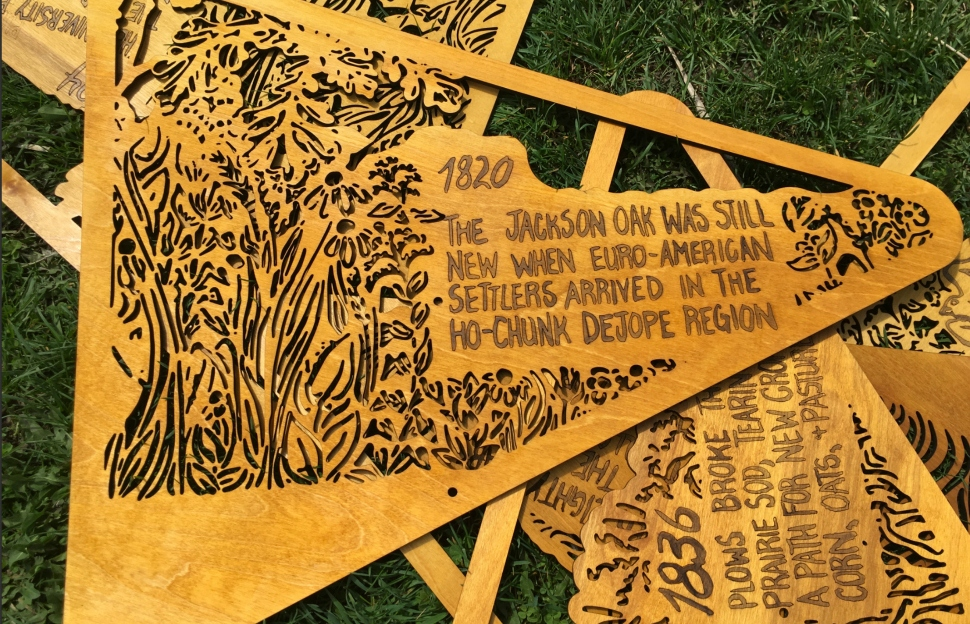 Signs from University of Wisconsin graduate Liz Anna Kozik's Prairie art exhibit at the university's arboretum.