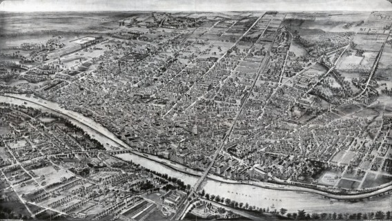 An aerial view of New Brunswick New Jersey in 1910
