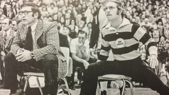 University of Iowa wrestling Coach Dan Gable mat side for a Hawkeyes meet.