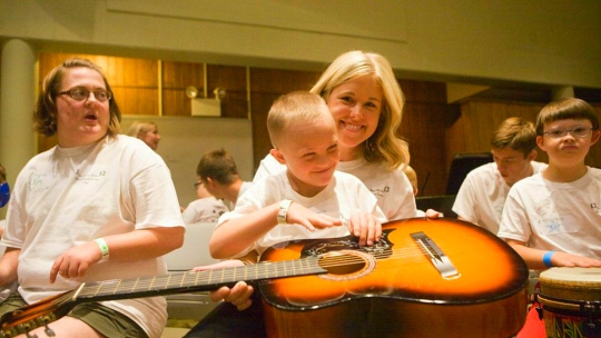 Campers and Volunteers at Michigan State University's Eric RicStar Winter Music Therapy Camp