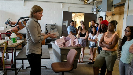 Students at the University of Michigan's ArcStart summer program with an instructor