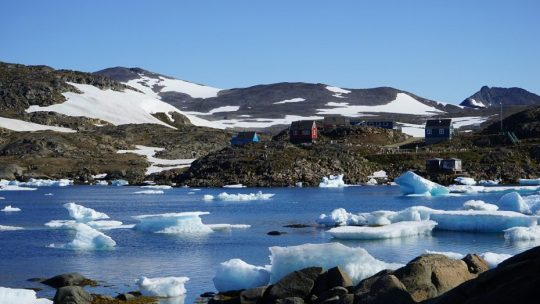 Icebergs in a small village north of the arctic circle