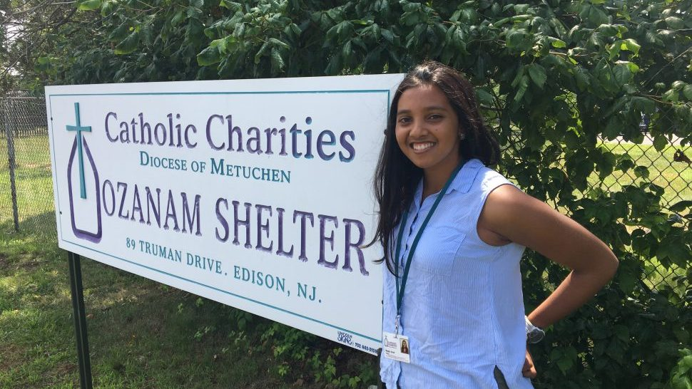 Megha Shah, a junior nursing major at the Ernest mario school of pharmacy at rutgers university, outside of the catholic charities homeless shelter in Edison, New Jersey