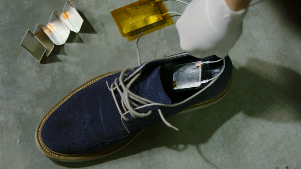 The Michigan State University-developed Ferro Electret Nanogenerator collects wasted energy from mechanical movement, such as the pressure produced by footsteps.