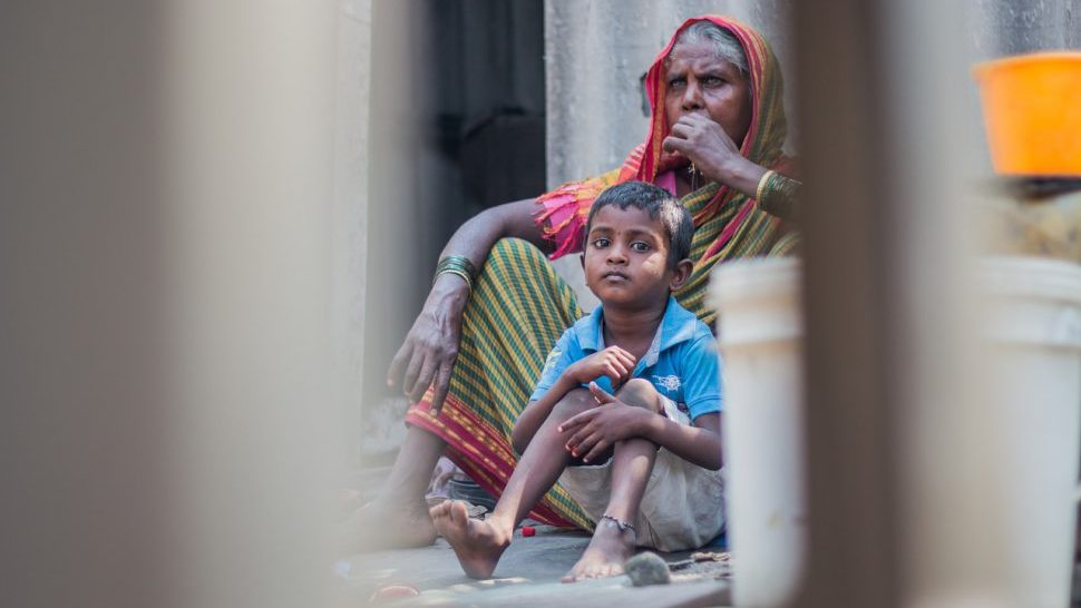 Grandmother with a child in India