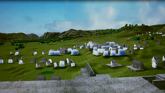 A still from the University of Nebraska's MayaCityBuilder virtual reality experience of the ancient Mayan city of Copan