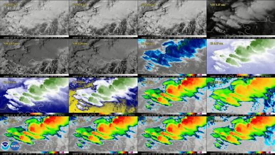 The sixteen bands of visibility from the GOES-16 satellite developed by University of Wisconsin-Madison researchers.