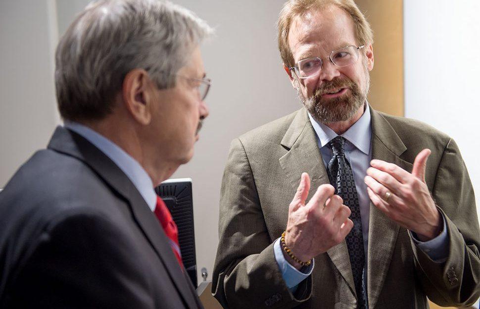 Gov. Branstad meets University of Iowa director of International Writing Program Christopher Merrill