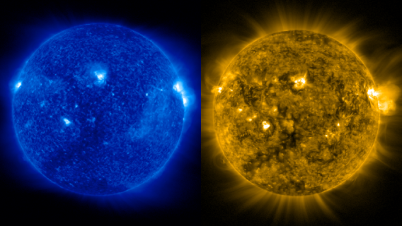 Two images of the sun taken at the same time using the Solar Ultrviolet Imager from the GOES-16 satellite.