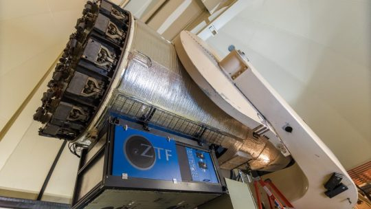 The Zwicky Transient Facility space camera used by University of Maryland astronomers to observe the universe.