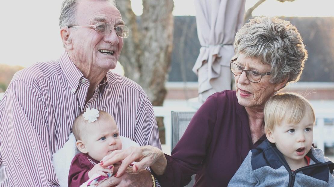 Grandparents with their grandchildren.