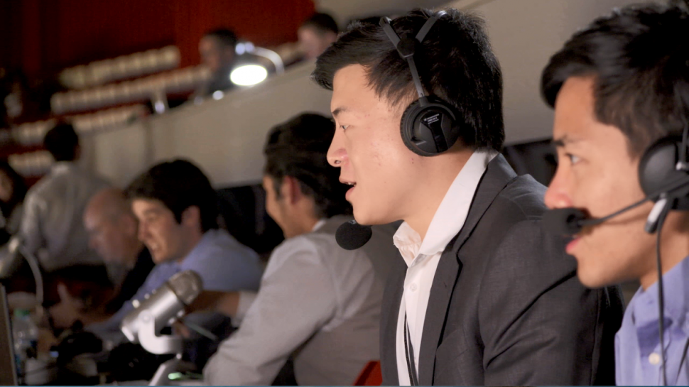 Members of Indiana University's Mandarin Radio Club call a Hoosiers basketball game in the Chinese dialect.