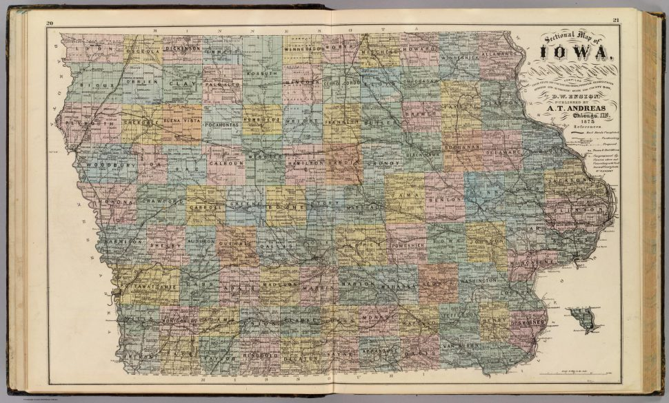 An old map of Iowa