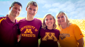 wendy eickhoff and her family at a university of minnesota gamr
