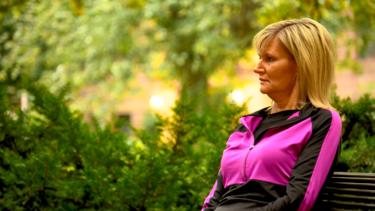 ALS sufferer Wendy Eickhoff on the campus of the University of Minnesota
