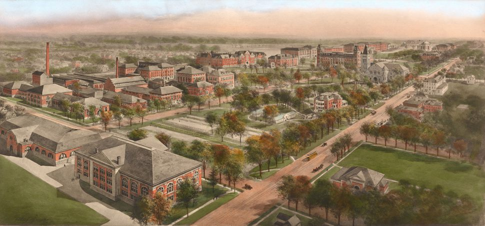 A color drawing of the University of Illinois campus from 1911.