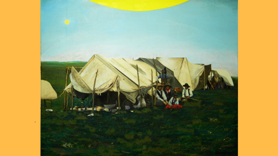 """Detail from Henry Payer's piece """"Winnebago Camp."""""""