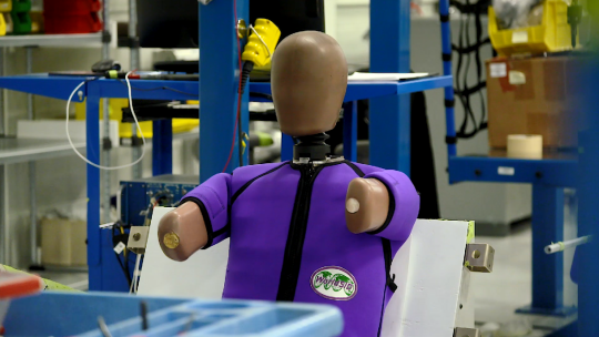 A crash test dummy built by humanetics using data collected by the university of michigan's international center for automotive medicine