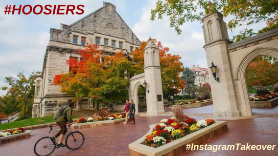 The gates of Indiana University with #HOOSIERS and #InstagramTakeover overlaid.