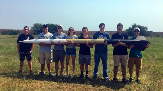 Purdue students are launching a 12-foot, liquid-fueled rocket in May that would have cost other researchers more than a quarter of a million dollars to build. (Purdue University/Purdue Space Program)