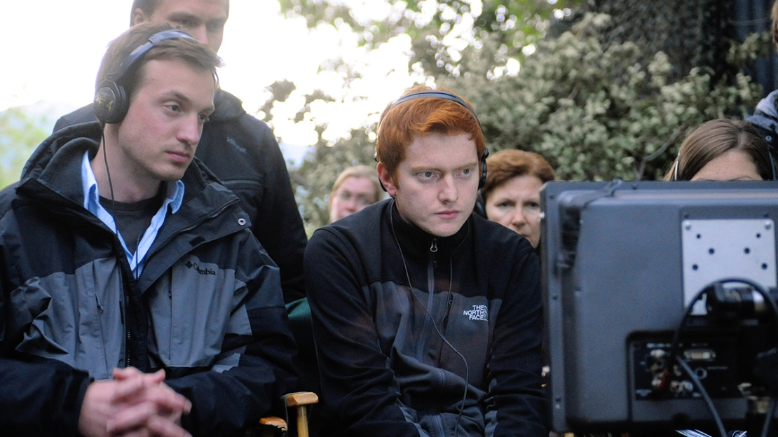 University of Iowa graduates and filmmakers Scott Beck and Bryan Woods on set.