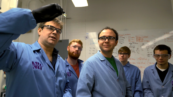 Northwestern University professor Will Dichtel and students in his lab work on Cyclopure