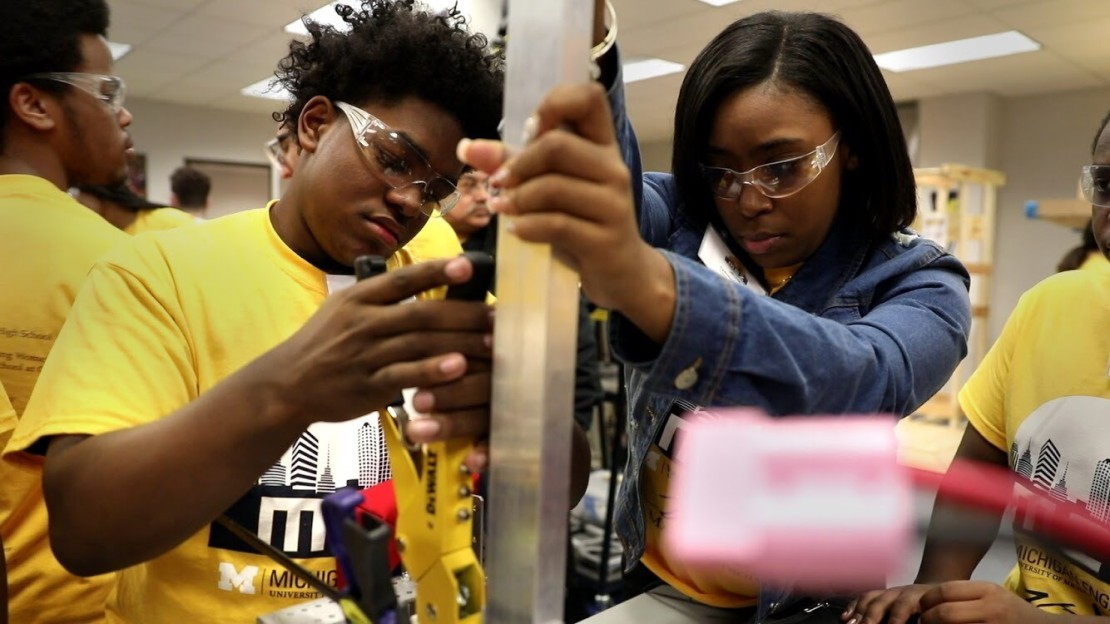 Students working at the University of Michigan Engineering Zone, or The MEZ