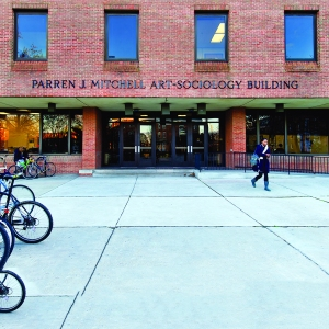 A view of the outside of the Parren J. Mitchell art-sociology building at the University of Maryland