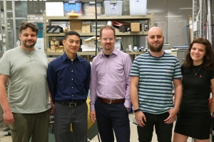 The Flamingo microscope design and development team (from left): Todd Bakken, Joe Li, Jan Huisken, Rory Power and Susi Power.Photo by Courtni Kopietz