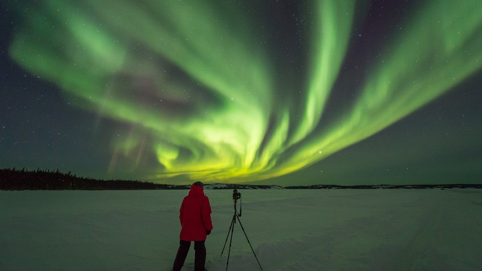 Jose Francisco Salgado photographing the Northern Lights (Aurora Borealis)