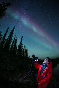 Jose Francisco Salgado photographing the Northern Lights
