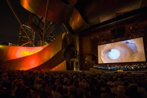 A performance of orchestra and a film by Jose Francisco Salgado in Chicago's Millenium Park