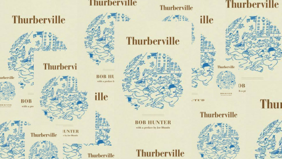 A collage of covers of the book Thurberville by Bob Hunter published by the ohio state university press