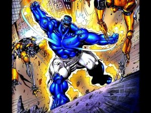 Blue Hulk from Marvel comic books.