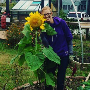 University of Maryland professor Dr. Kate Tully in the Columbia Heights Green, an urban farm garden in Washington DC that she runs.