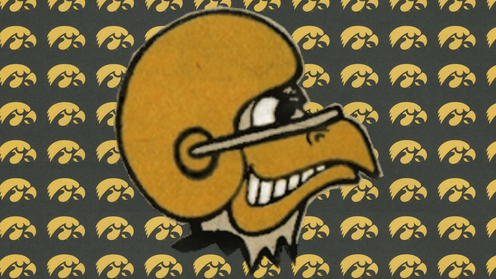 The University of Iowa's Herky the Hawk logo old and new
