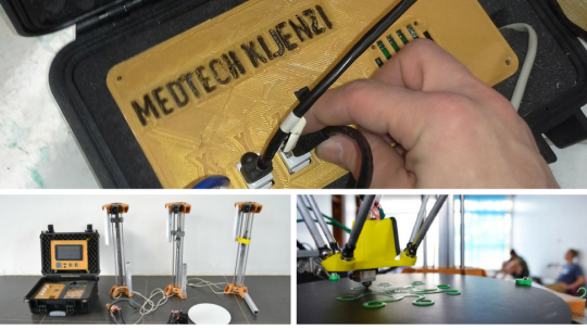A compilation of pictures of Kijenzi's 3D printing system