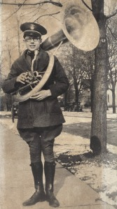 Young Orville Redenbacher poses with his sousaphone he played in the Purdue University Marching Band