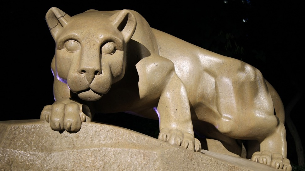 The famous Nittany Lion shrine at the Pennsylvania State University