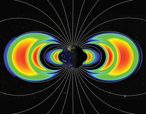 an artist's rendering of the van allen radiation belts discovered by university of iowa astrophysicist James Van Allen